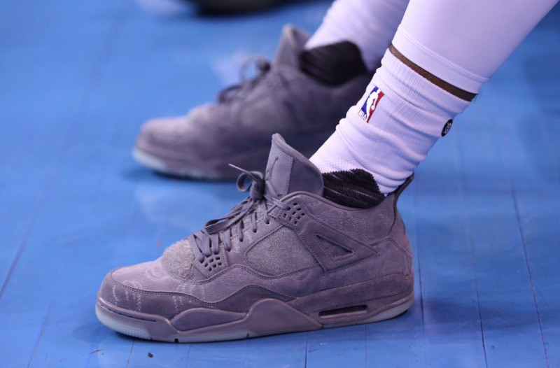 The Glove Jr wasted no time rocking the KAWS on court