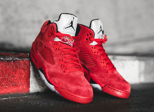 "Another look at the Red Air Jordan 5 ""Flight Jacket"""