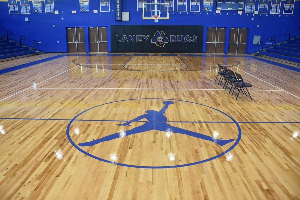 The new Laney High gym has a killer Jordan display