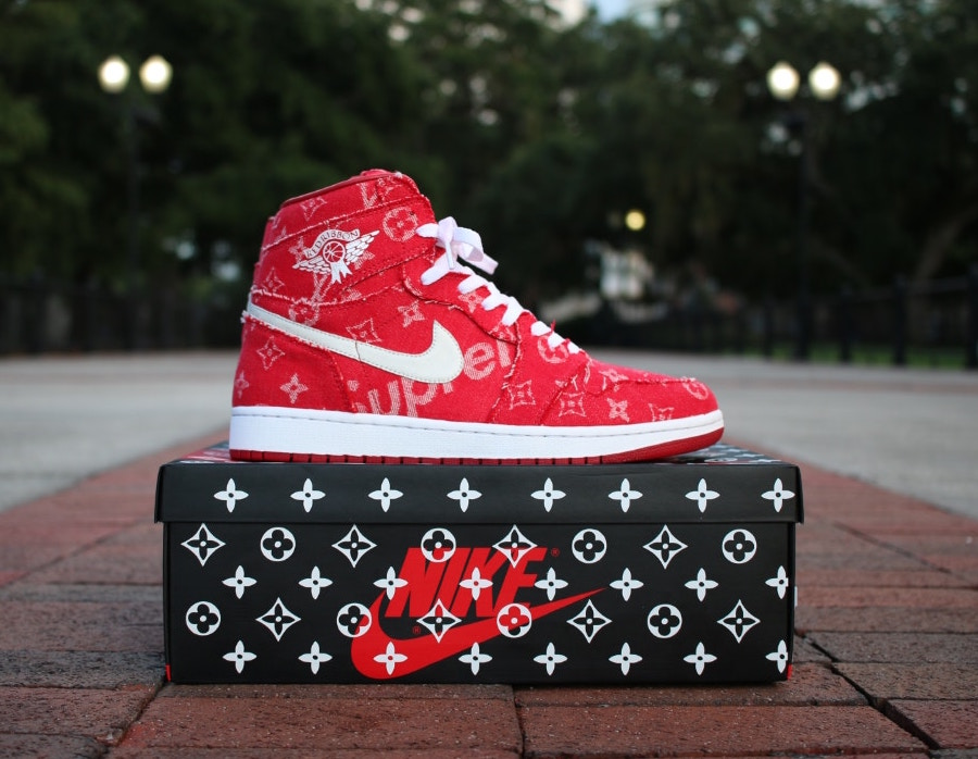 Check out these limited edition Louis Vuitton x Supreme Custom 1's