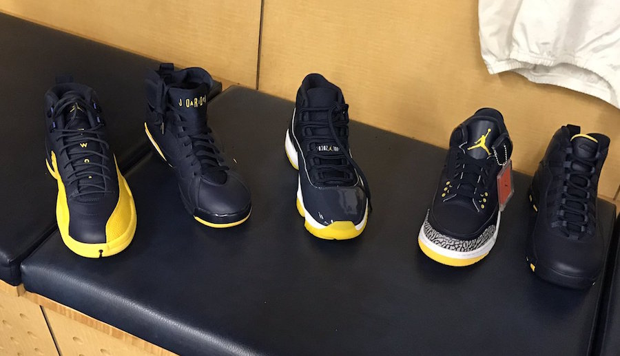 Michigan shows off their Maize and Blue Jordan PE's