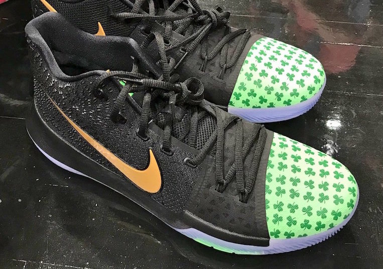 Kyrie laces up Shamrock PE's for opening night against the Cavs