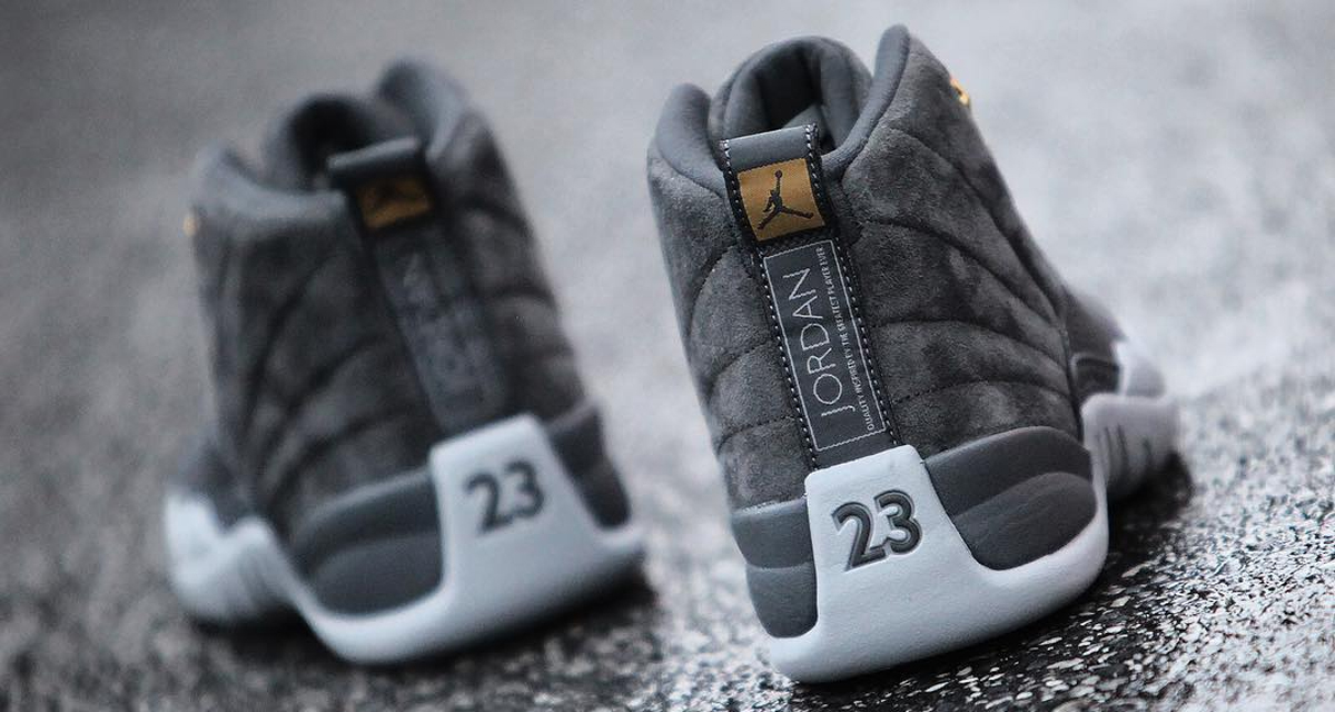 "Your best look yet at this weekend's ""Dark Grey"" Air Jordan 12"