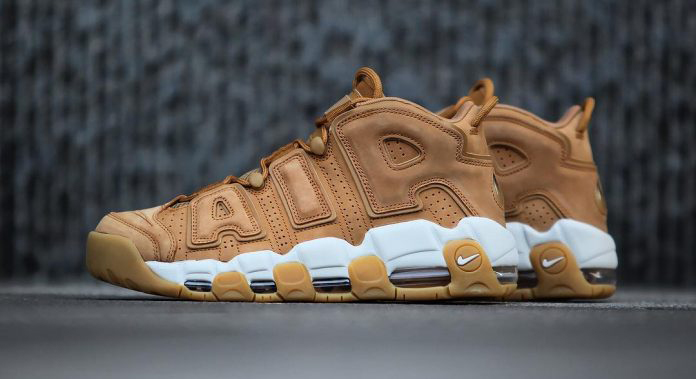 "Get a detailed look at the ""Wheat"" Nike Air More Uptempo"