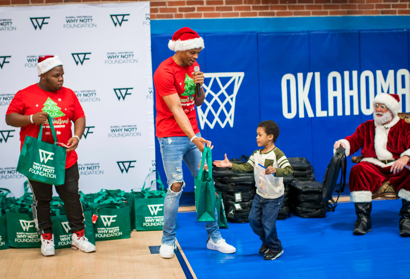 Russell Westbrook has been handing out kicks for the kids this Christmas