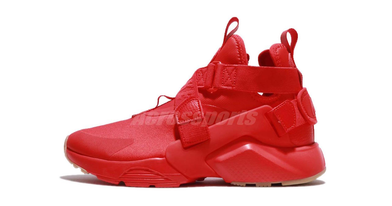Triple Red hits the Nike Air Huarache City