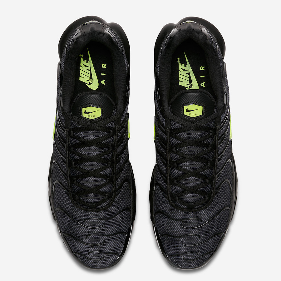 "quality design 719bd a9ab9 Nike Air Max Plus ""Neon Volt"". Color  Black Volt Glow-Wolf Grey Style Code   AJ2013-001. Release Date  February 8, 2018. Price   150"