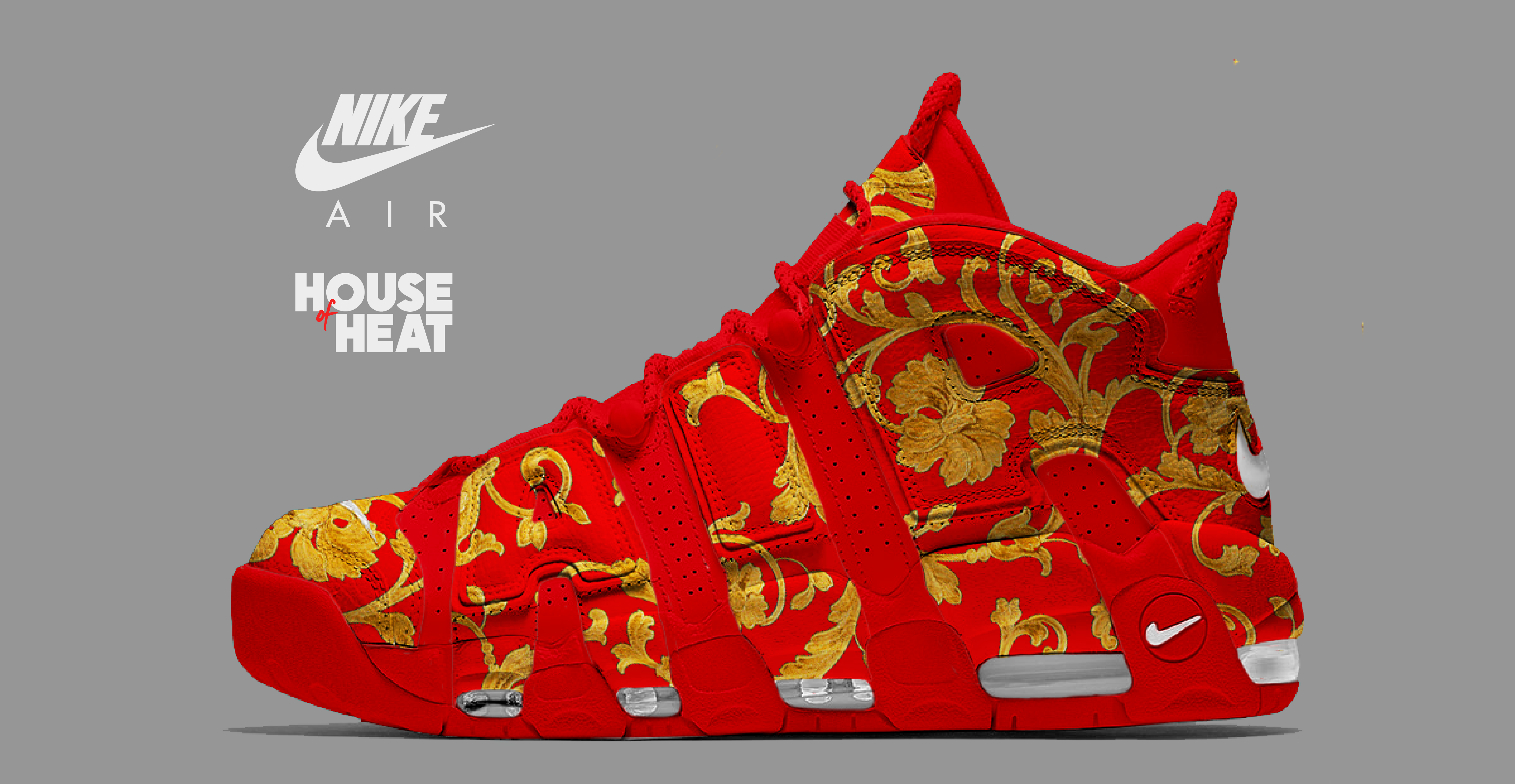 "new products b03b5 63984 The Concept Lab  Nike Air More Uptempo ""Red Versace"""