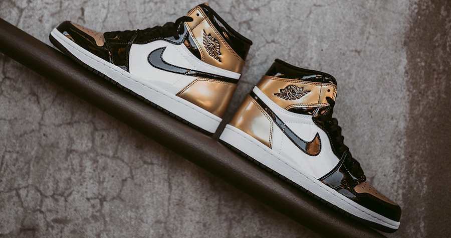 "A detailed look at this week's ""Gold Toe"" Air Jordan 1"