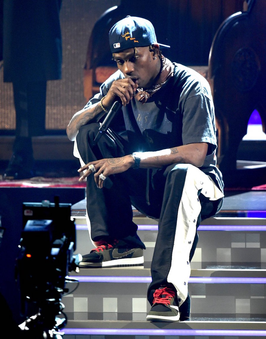 Travis Scott Flexes his Upcoming Air Jordan 1 Low at the Grammys ... 2e0865e6b