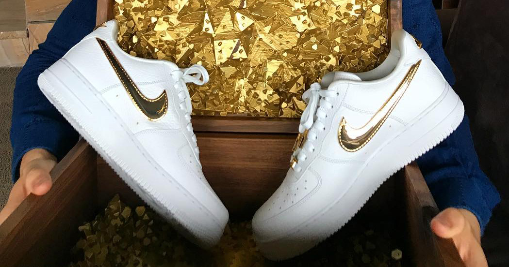Check out Ronaldo's 24k Gold pair of Air Force 1's