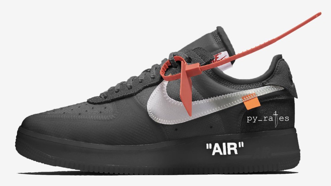 """Off-White x Nike Air Force 1 Low """"Black"""" to hit stores in October."""