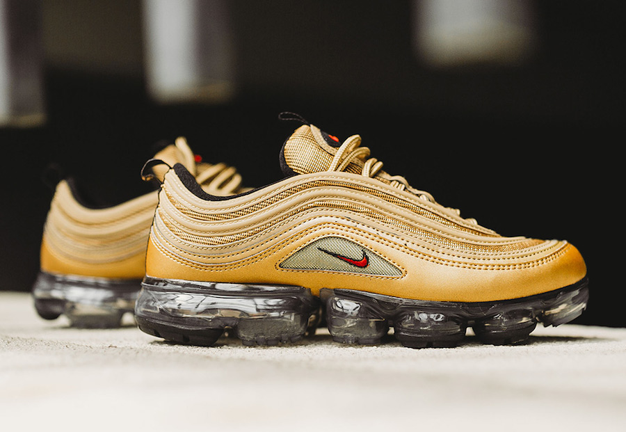"Releasing today // Nike Air VaporMax 97 ""Metallic Gold"""