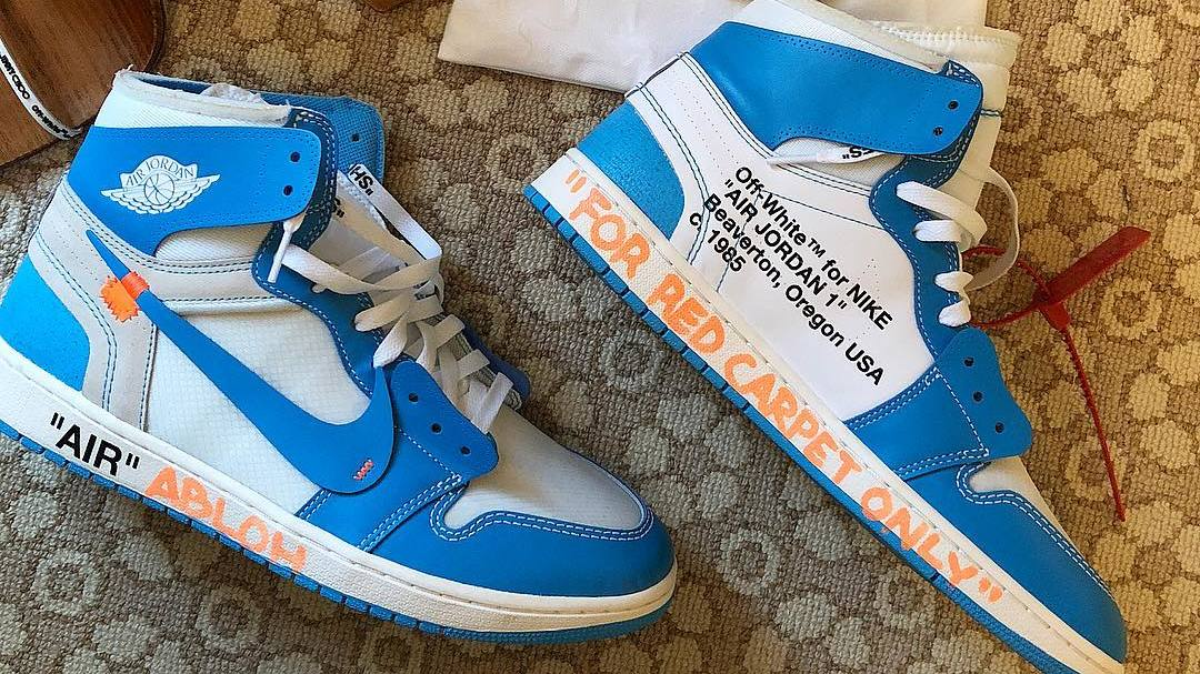 "Virgil dons his ""UNC"" Off-White x Air Jordan 1s at the Met Gala"