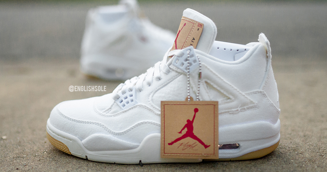 "Detailed look // Levi's x Air Jordan 4 ""White"""