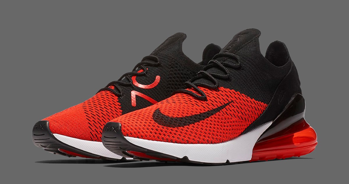 "huge discount a6679 6dbc8 Available Now  Nike Air Max 270 Flyknit ""Bred"""