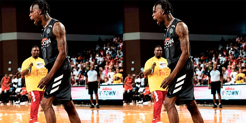 Meek Mill and Travis Scott Flex Their Court Skills at James Harden's Charity Game
