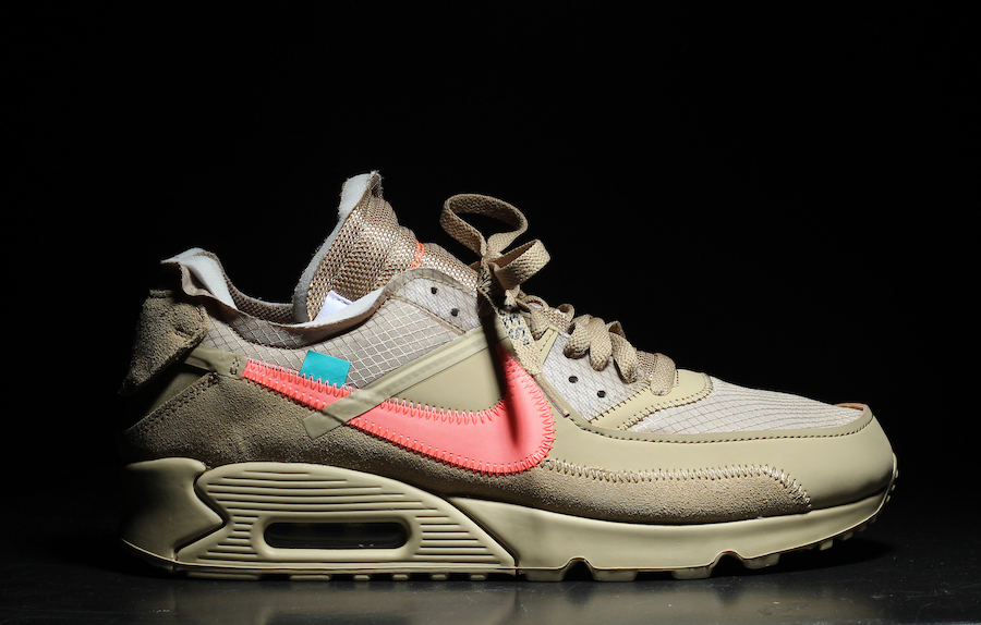 Off White Nike Air Max 90 Desert Ore Hyper Jade Bright Mango