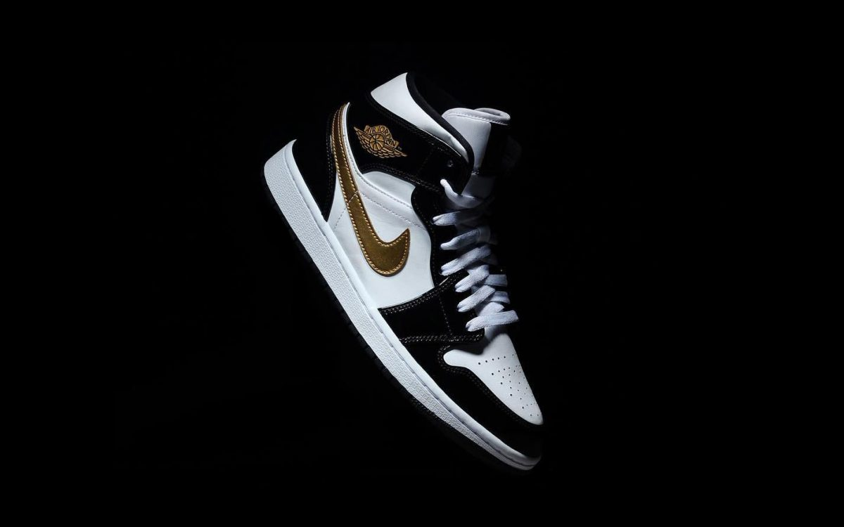 727dbad33a06 Available Now    Black and Gold Patent Leather Air Jordan 1 Mid ...