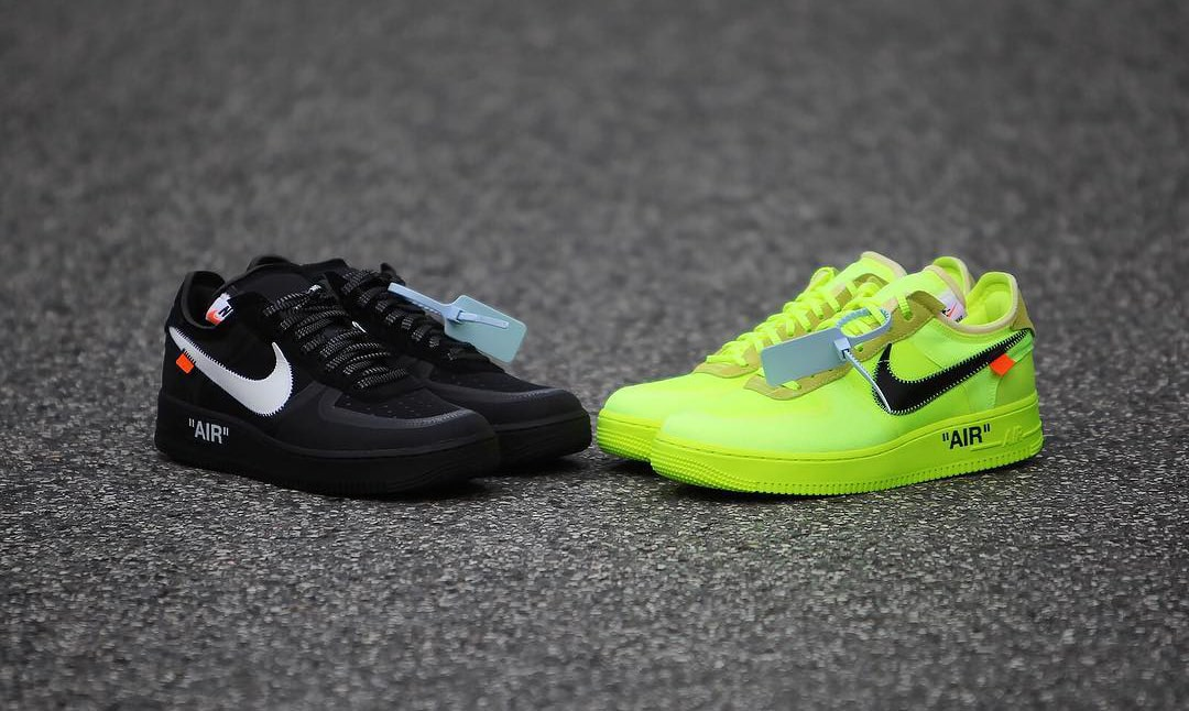 Comparing the Black and Volt OFF-WHITE x Nike Air Force 1 Lows