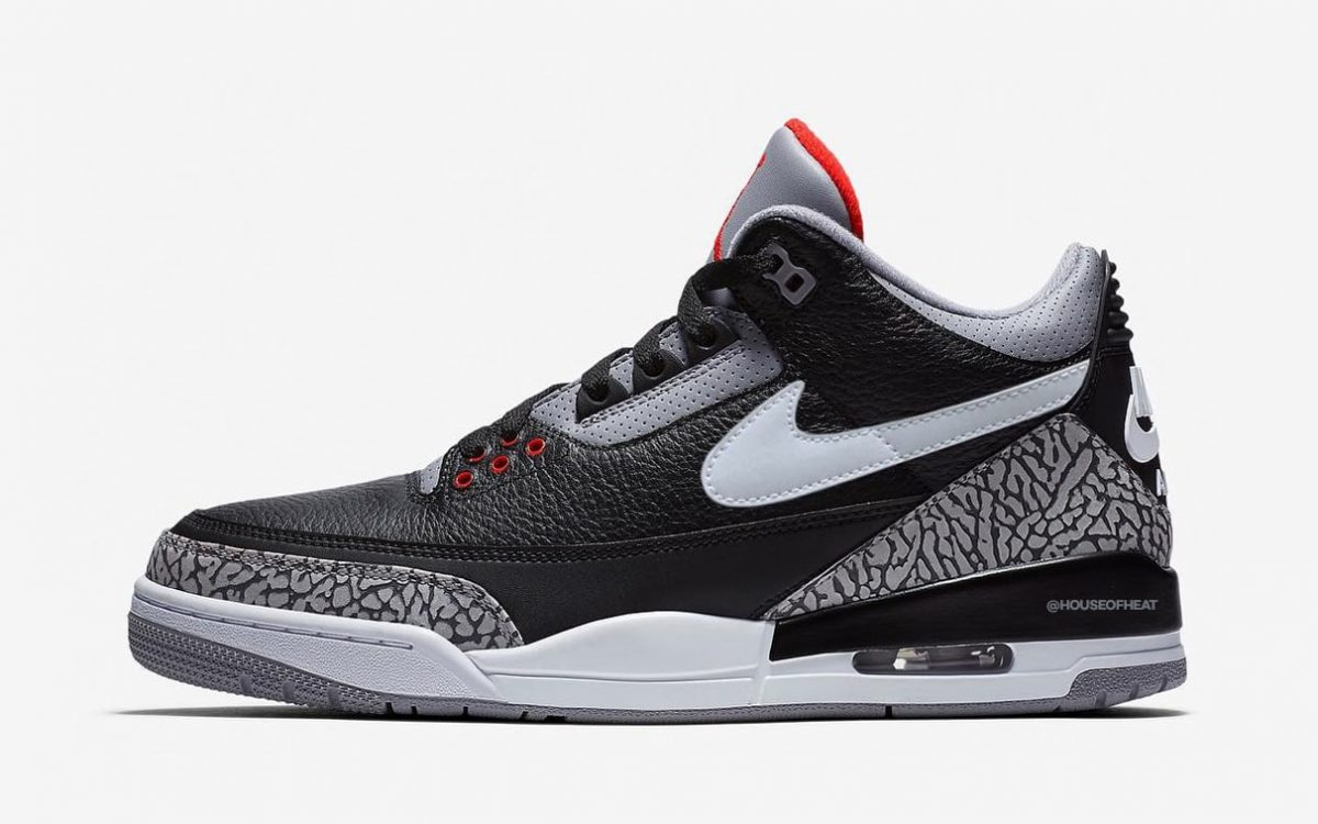 """Air Jordan 3 Tinker to Arrive in """"Black Cement"""" for 2019"""