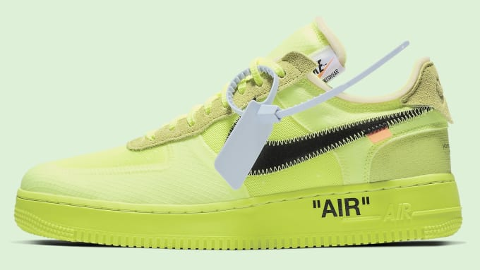 """b6edbd92 OFF-WHITE x Nike Air Force 1 """"Volt"""". Volt belongs on sneakers only in small  amounts. This is just way too much. And there's something hideous about  that ..."""