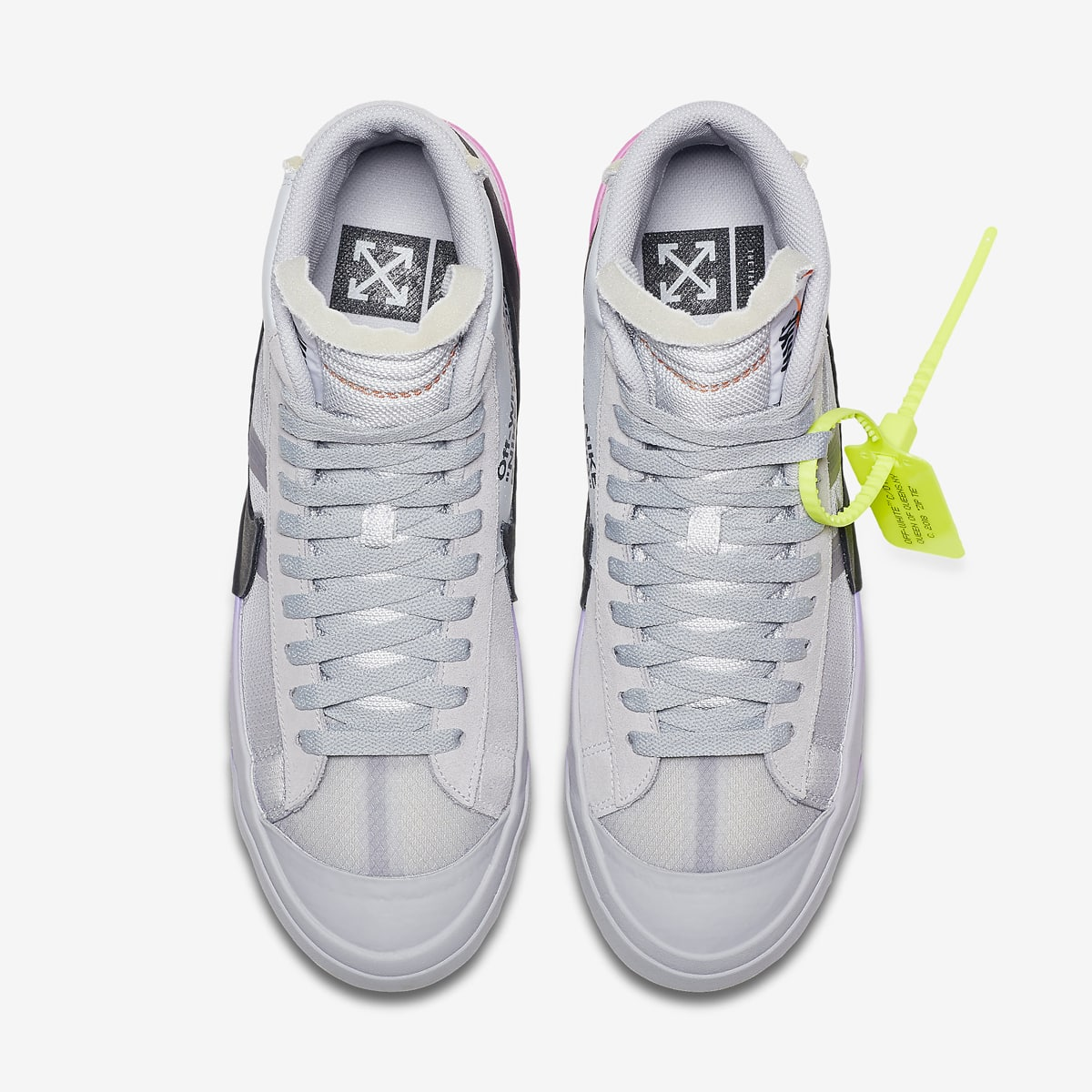 "Off-White x Nike Blazer Mid ""Queen"". Color  Wolf Grey Cool Grey-Pure  Platinum-Volt Style Code  AA3832-002. Restock Date (EU)  March Price   130 7696d3385"