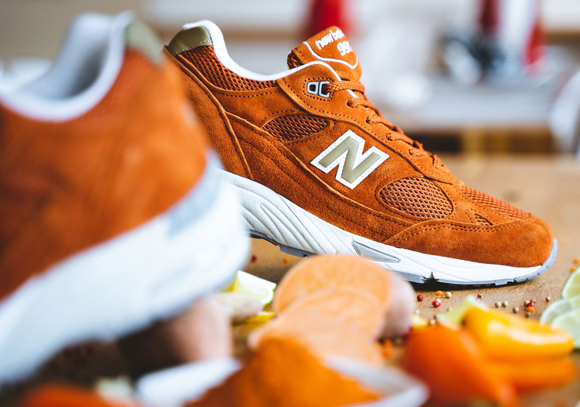Available Now // New Balance M991 in Orange Suede