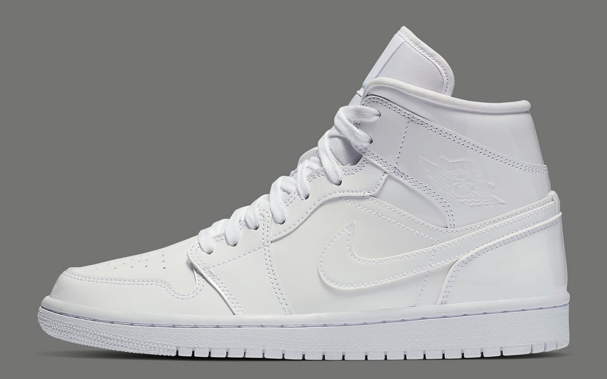 online retailer 85343 e9a6c Available Now    White Patent Leather Air Jordan 1 Mid - HOUSE OF ...
