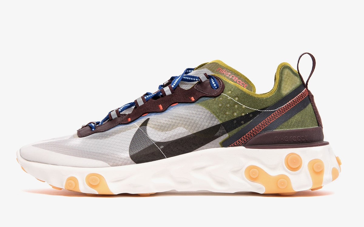 Nike React Element 87 Moss/Black-El Dorado-Deep Royal Blue AQ1090-300