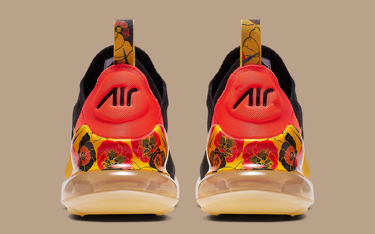 Nike Air Max 270 Floral Black University Gold Bright Crimson AR0499-005