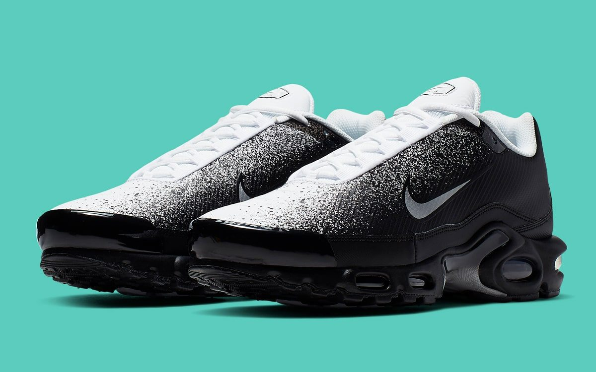 Available Now // Monochrome Spray-Painted Air Max Plus