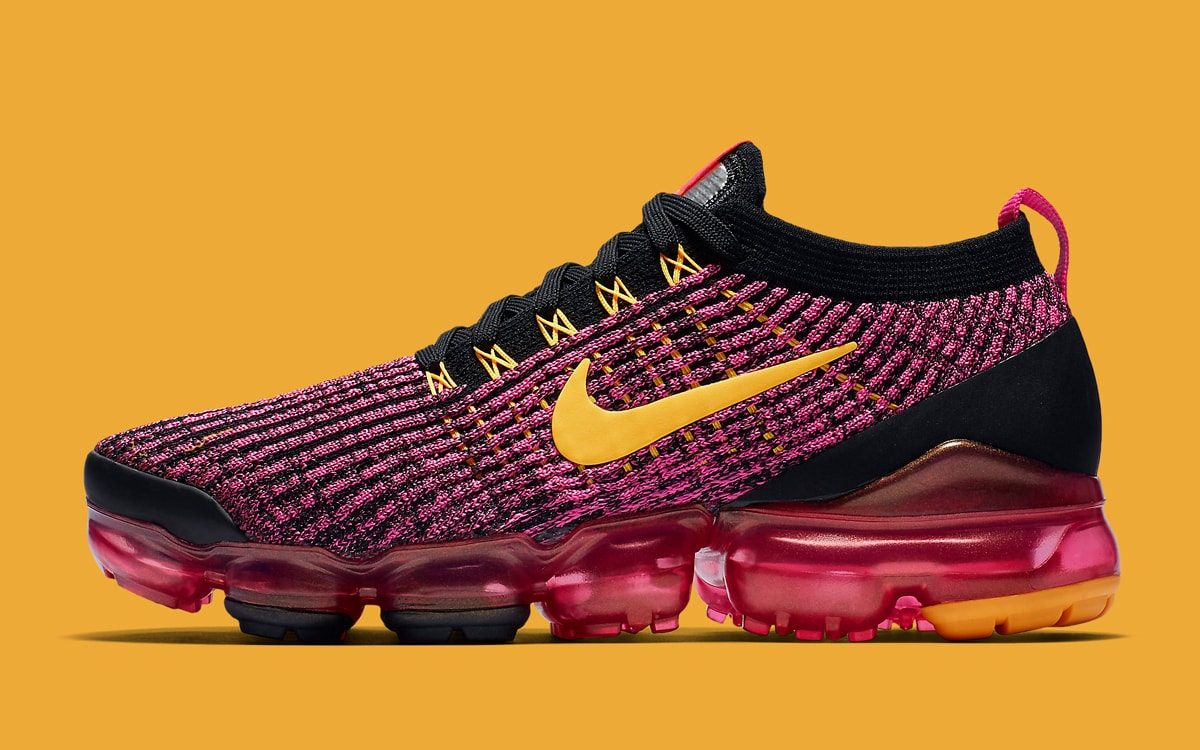 Laser Fuchsia and University Gold Pack a Serious Punch on the VaporMax Flyknit 3