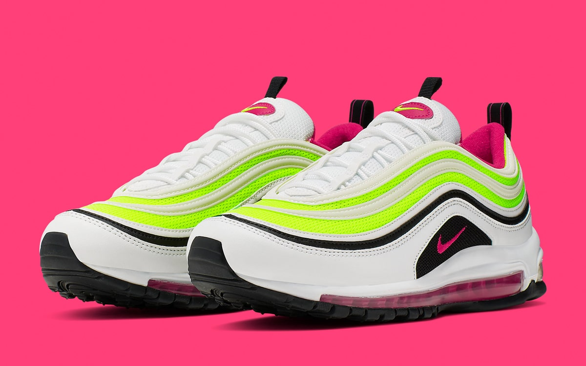 the best attitude 9972f f1e3e Available Now    Nike Air Max 97 in Rush Pink and Volt - HOUSE OF ...