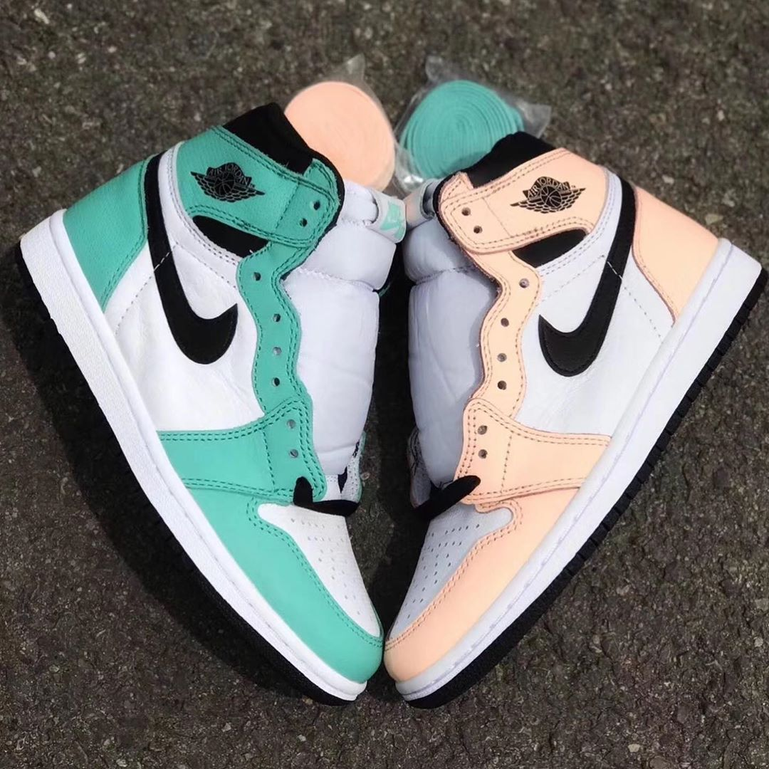 This Pair of Air Jordan 1s Arrive in Mismatched Peach and Green Perforated Leather