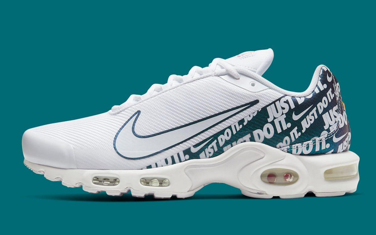 Overbranding Returns on this White and Emerald Air Max Plus