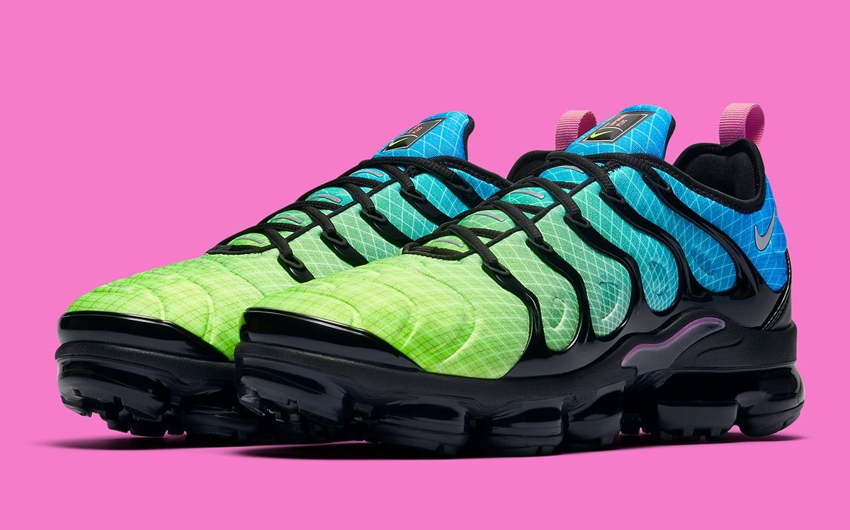 The VaporMax Plus Pops Up in Powerful Green and Blue