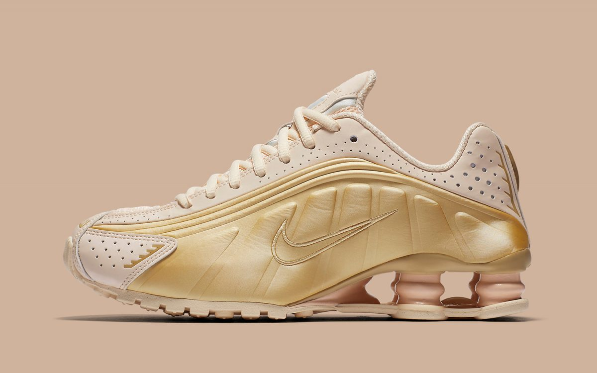 """info for 29068 f7a01 The Nike Shox R4 Arrives in Classy """"Gold Guava"""""""