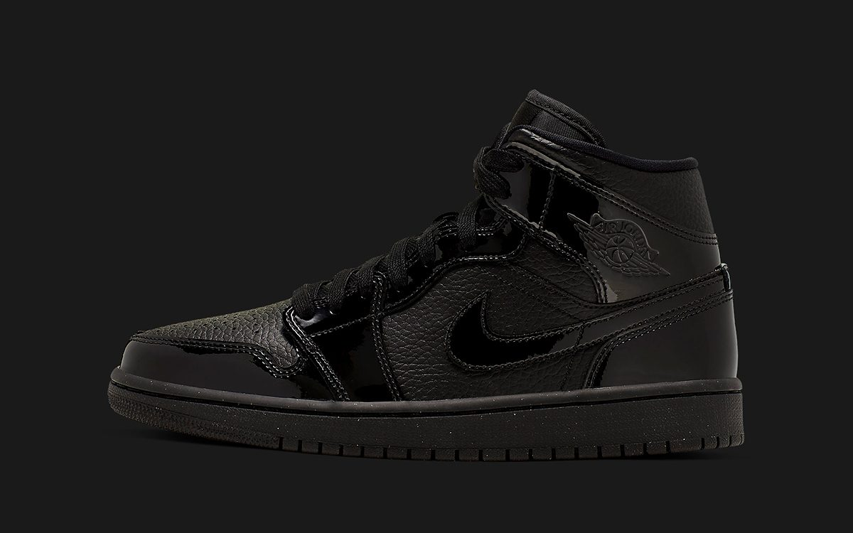 Triple Black Ladies-Exclusive Air Jordan 1s Rock Tumbled Leather, Patent Leather, and Glitter Soles