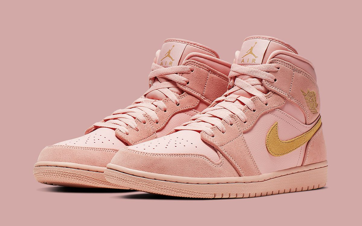 Just Dropped // Suede and Leather Air Jordan 1 in Coral and Gold
