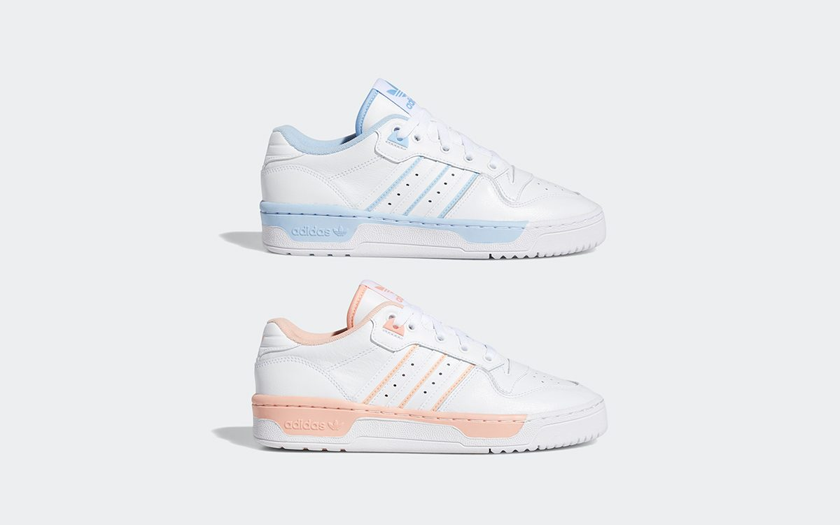 "Available Now! // adidas Rivalry Low in ""Glow Blue"" and ""Glow Pink"""