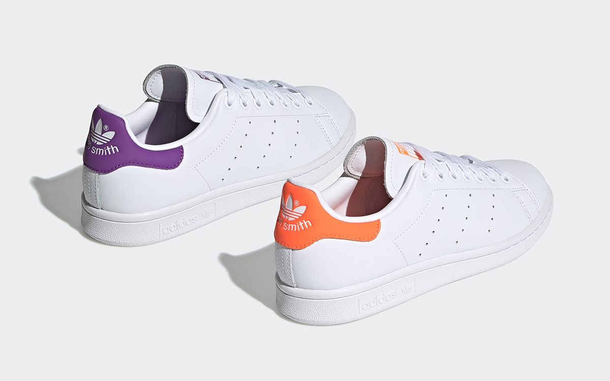 "Available Now! // adidas Stan Smith in ""Solar Orange"" and ""Active Purple"""