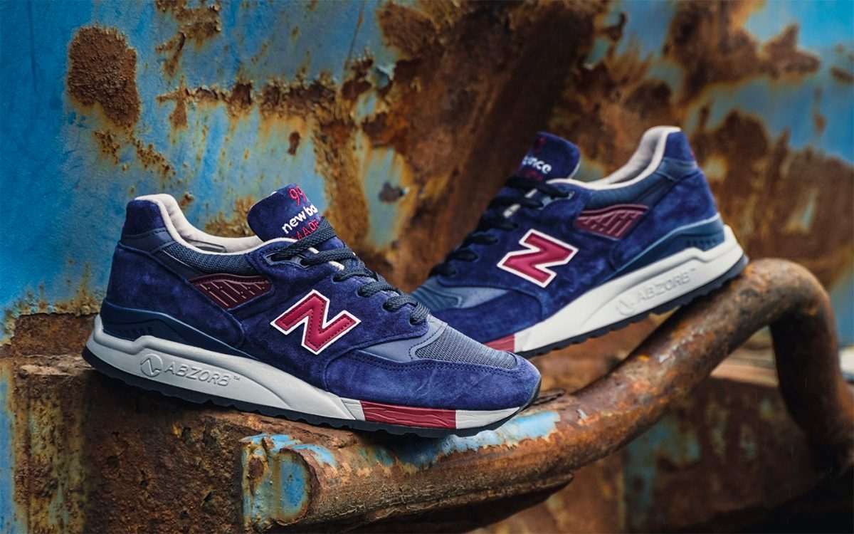 Available Now // New Balance 998 Made In USA in Navy/Burgundy