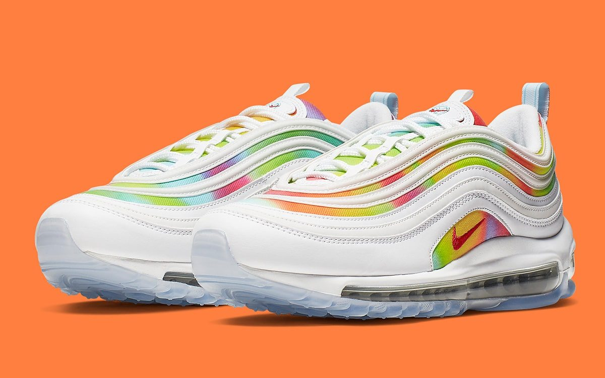 online retailer detailed images recognized brands Available Now // Tie Dye Air Max 97 Appears in White ...