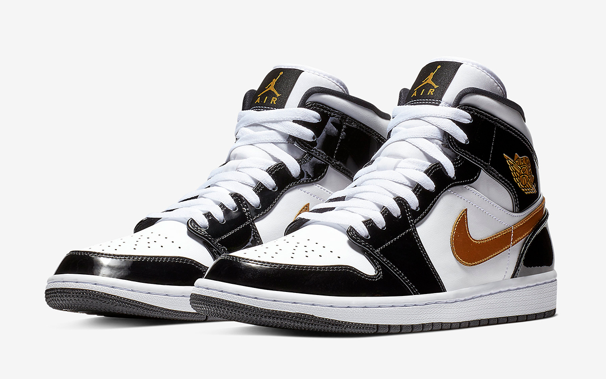 super popular 34550 2da80 The Black and Gold Patent Leather Air Jordan 1 Mid Just ...