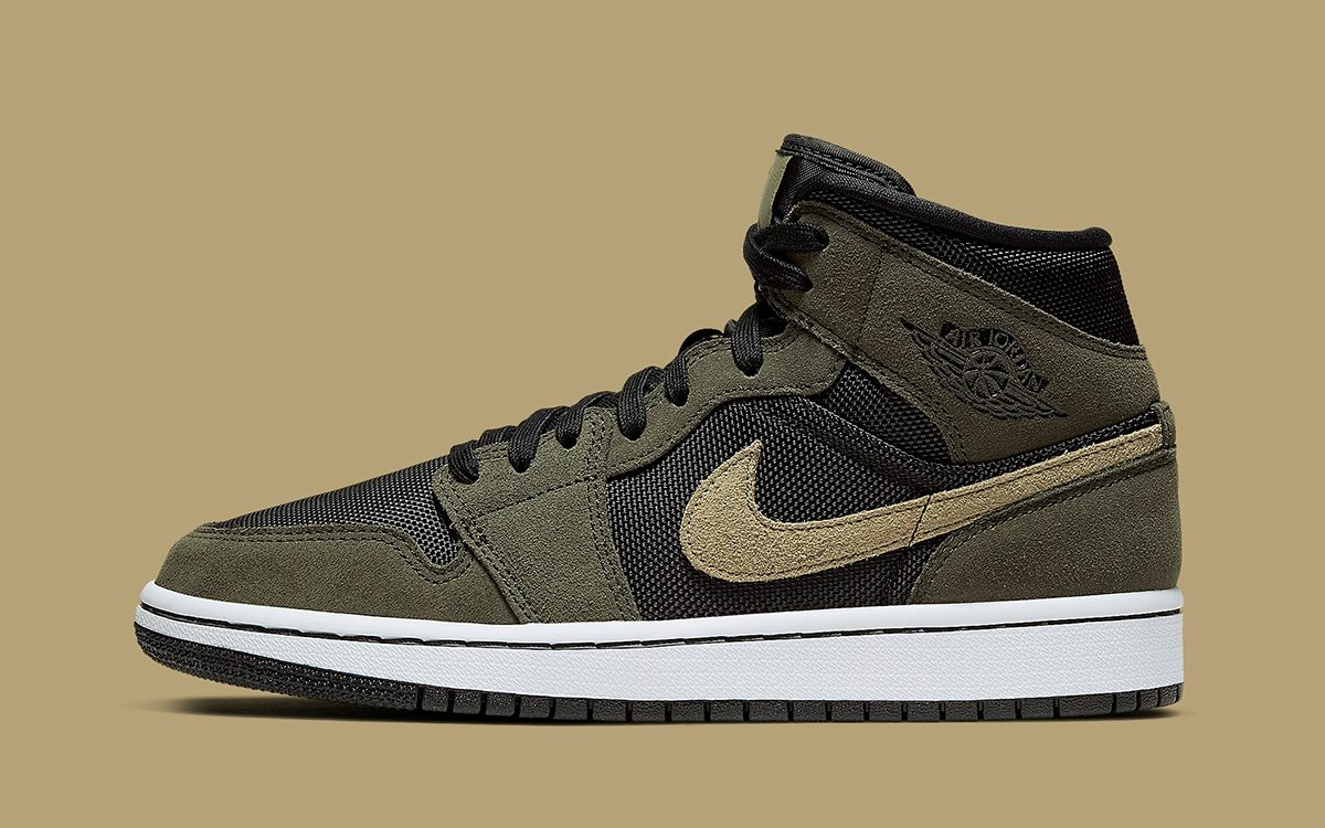 The Air Jordan 1 Mid Arrives in Olive Suede and Ballistic Mesh