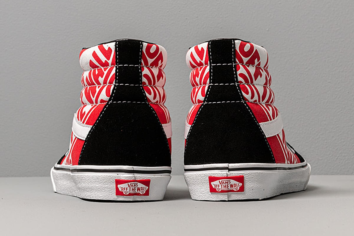 red black and white off the wall vans