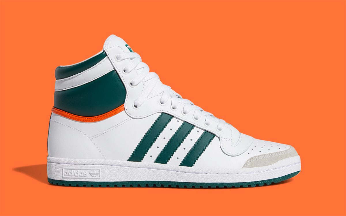 Available Now // The adidas Top Ten Hi Gets a Miami Hurricanes Makeover