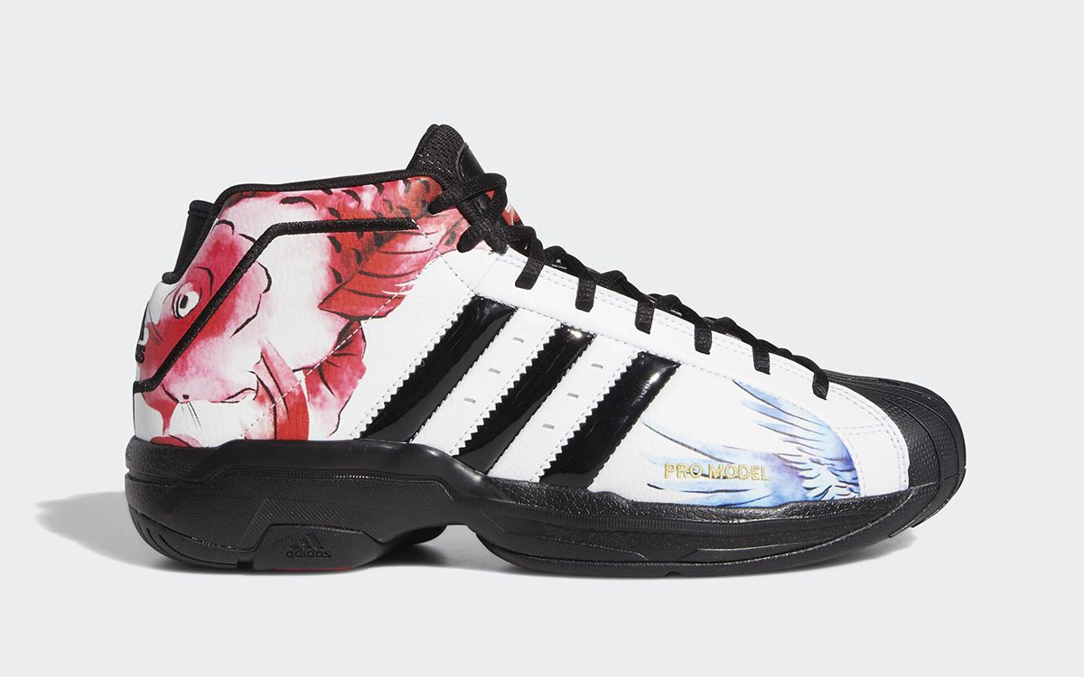 Traditional Watercolor Artwork Covers the adidas Pro Model 2G for Chinese New Year