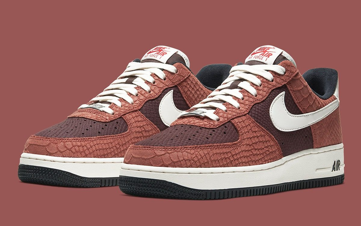 "Available Now // Nike Air Force 1 Low Snakeskin ""Red Bark"""
